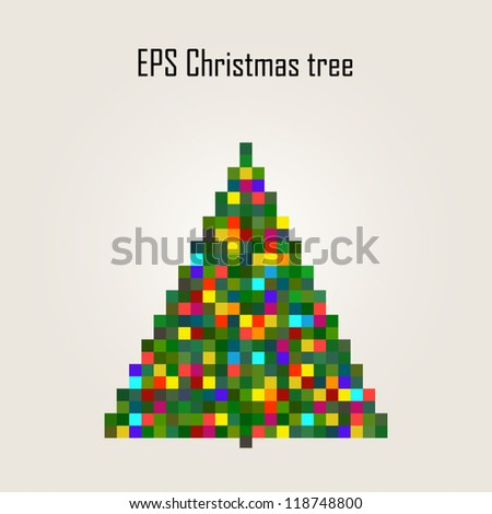 Christmas pixel tree, vector illustration - stock vector
