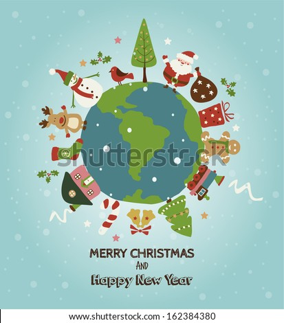 Christmas planet card. Merry Christmas and Happy new year!  - stock vector