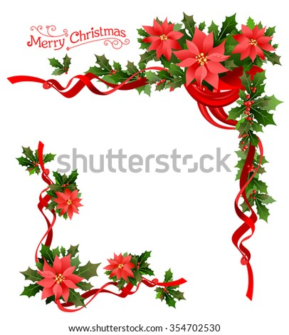 Christmas poinsettia corner. Holiday elements  for design card, banner,ticket, leaflet and so on. - stock vector