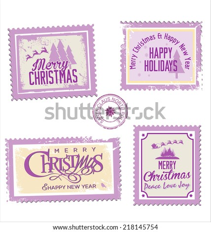 Christmas post stamp collection - stock vector