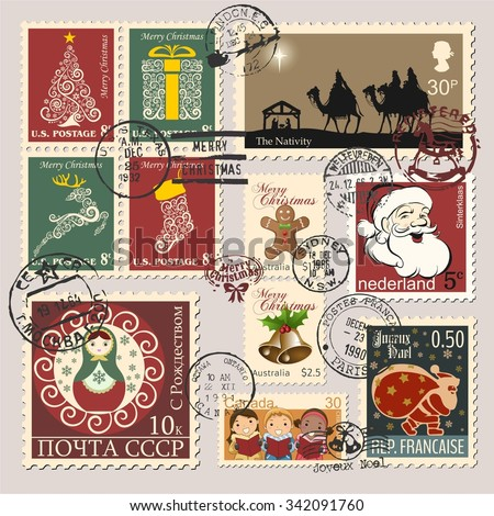 Christmas postage stamps, wishes Merry Christmas (vertical Russian text), USSR Post (horizontal Russian text) and Moscow (lower stamper Russian text) - stock vector