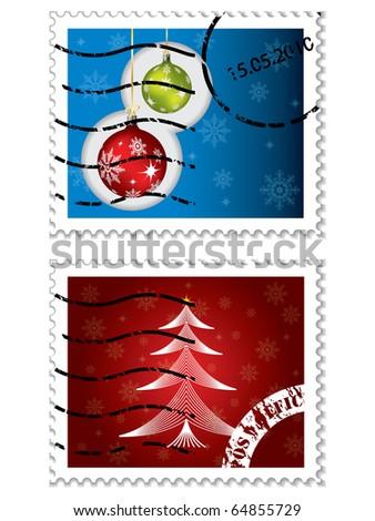 Christmas postal stamps - stock vector
