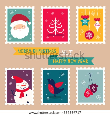 Christmas Postal Stamps Set. Vector Illustration
