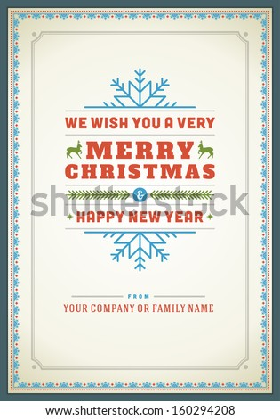 Christmas postcard ornament decoration background. Vector illustration Eps 10. Happy new year message, Happy holidays wish.  - stock vector