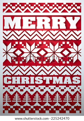 Christmas postcard. Stylized abstract paper cutout ugly sweater pattern.