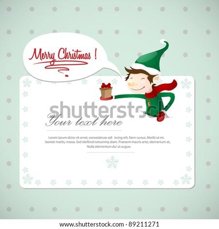 Christmas Postcard With Cute Elf - stock vector