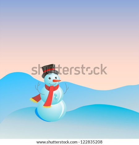 Christmas postcard with funny snowmen - stock vector