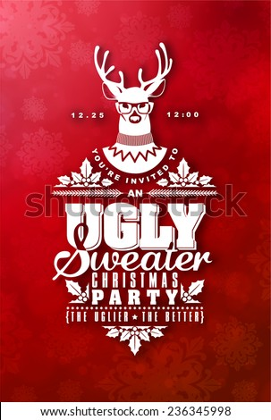 Christmas postcard with invitation on ugly sweater holiday party  - stock vector