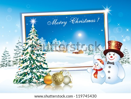 christmas postcard with snowman and holiday balls 2013 - stock vector