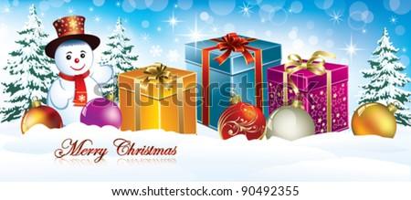 christmas postcard with snowmans - stock vector