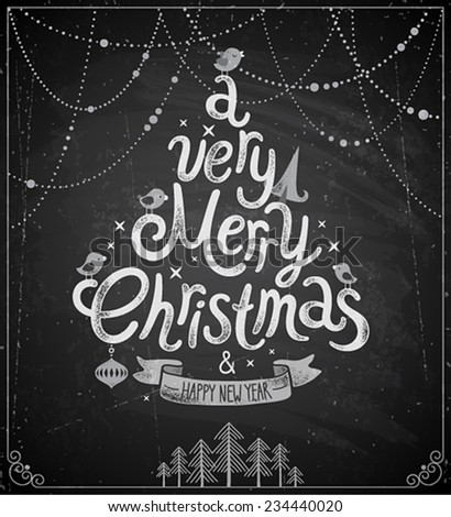 Christmas poster - Chalkboard style. - stock vector