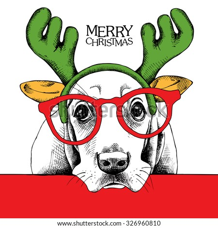 Christmas poster of a dog Basset Hound portrait in mask Santa's antler reindeer and glasses. Vector illustration. - stock vector