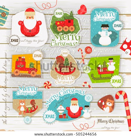 Christmas Poster On White Wooden Background Stock Vector 505244656