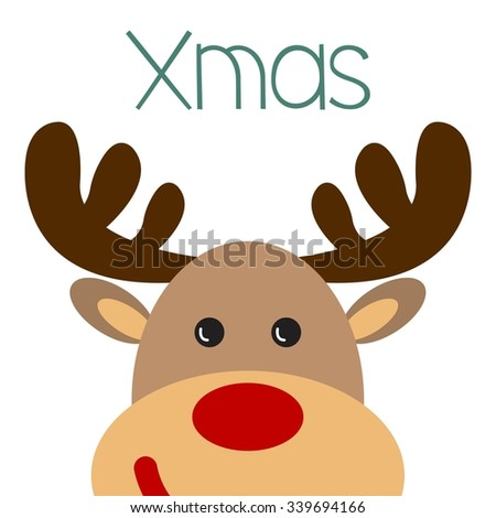Christmas Poster With Reindeer Face XMAS Inscription Vector Illustration
