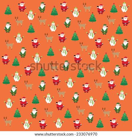Christmas poster with Santa Claus, elf, reindeer, christmas tree, snowman in the background / Christmas vintage vector illustration - stock vector