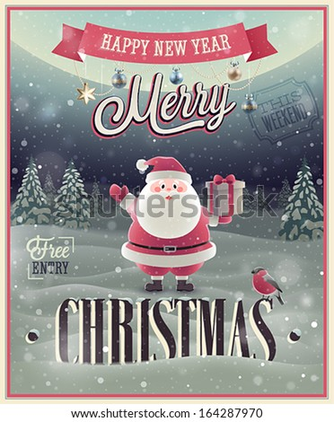 Christmas Poster with Santa. Vector illustration. - stock vector