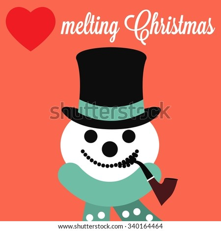 Christmas poster with Snowman face / Christmas poster with Heart melting Christmas inscription / Christmas vector illustration - stock vector