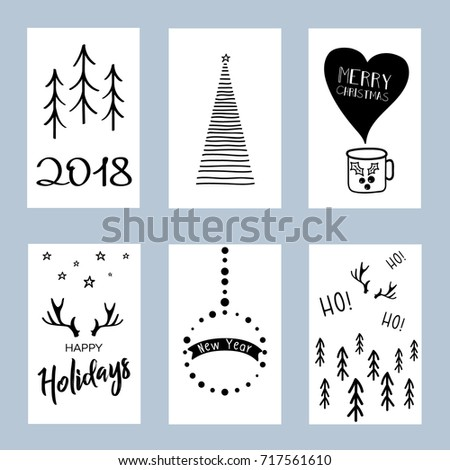 Christmas Posters Set Set Winter Holiday Stock Vector - Christmas card templates black and white