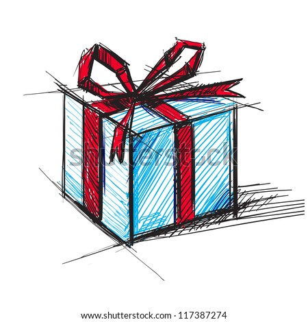 Christmas present box cartoon sketch vector illustration - stock vector