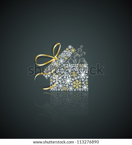 Christmas present box made from snowflakes - stock vector