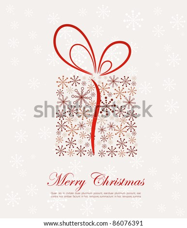Christmas present box made from snowflakes (vector) - stock vector