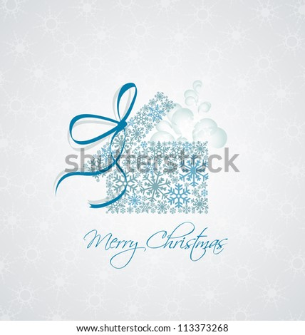Christmas present box on snowy background - stock vector