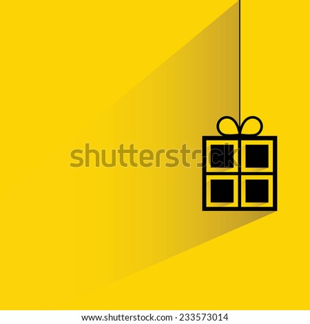 Christmas present, gift box on yellow background, flat and shadow theme - stock vector