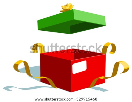 Christmas present gift box, open and isolated. Vector illustration. - stock vector