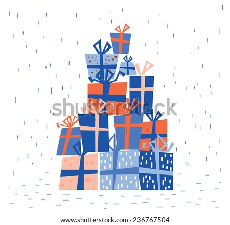 Christmas presents blue pile - stock vector