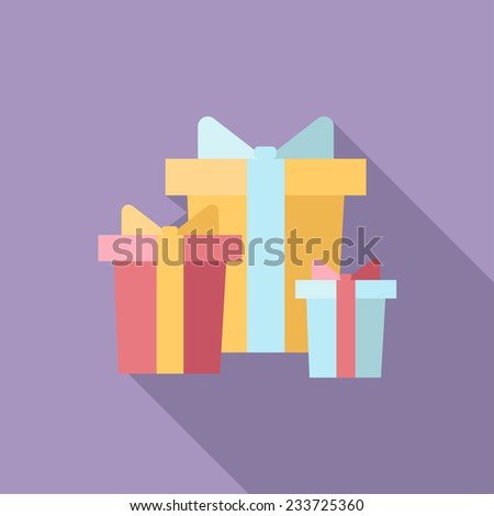 Christmas presents in different colorful boxes icon with long shadow. Vector illustration minimal flat design.  - stock vector