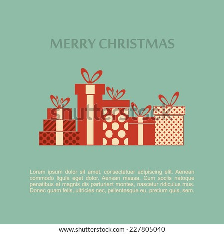 Christmas Presents in Retro Style. - stock vector