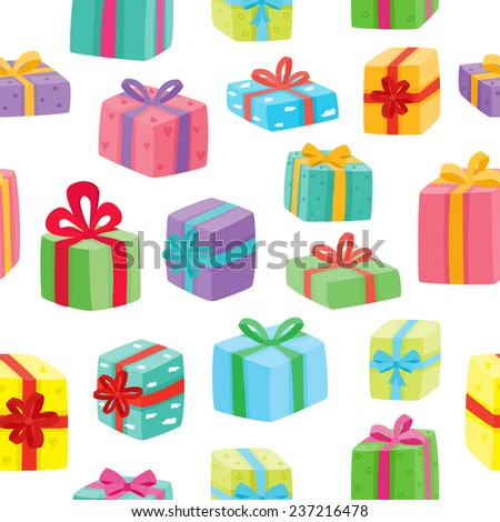 Christmas presents seamless pattern. Vector illustration of cartoon gifts - stock vector