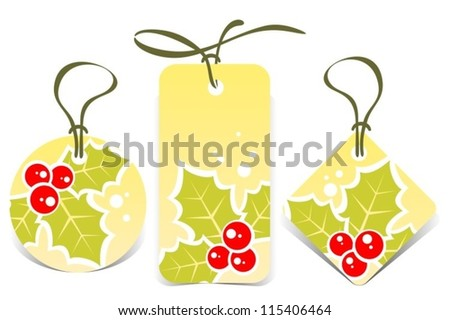 Christmas price tags set with Holly Berry .