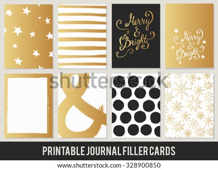 Christmas printable set of filler cards for scrapbook 3x4in, planner, diary journaling in vector. black gold - stock vector