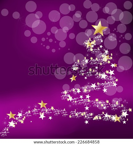 Christmas purple background with abstract new year's tree and stars - stock vector