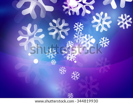 Christmas purple color abstract background with white transparent snowflakes. Holiday winter template, New Year layout - stock vector
