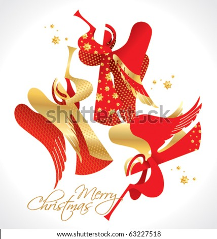 Christmas red and gold figured Angels with stars on a white background. Vector illustration. - stock vector