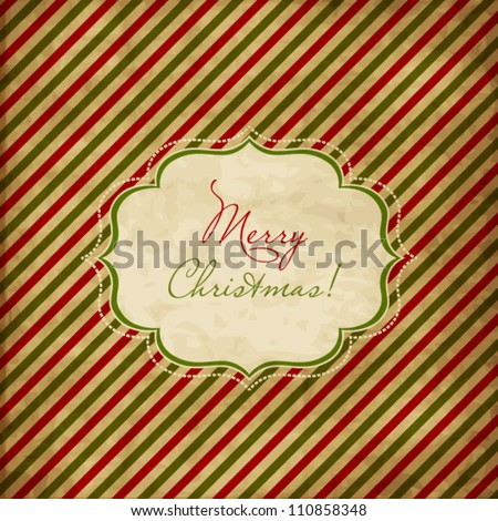 Christmas red and green striped card - stock vector