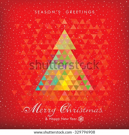 Christmas red background with abstract geometric Christmas tree. - stock vector