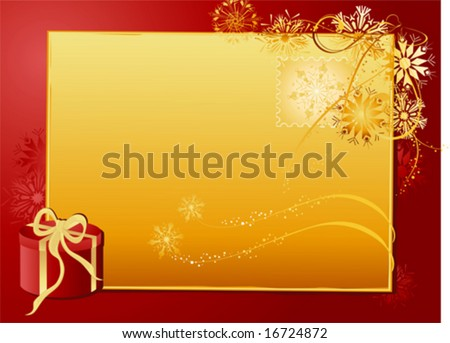 Christmas red background with gold letter and gift.