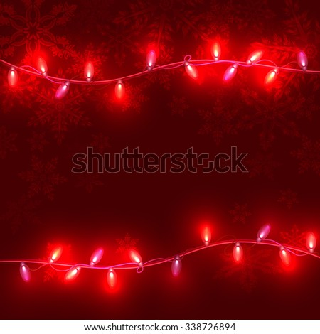 Christmas red  background with light garlands and snowflakes ,vector eps 10