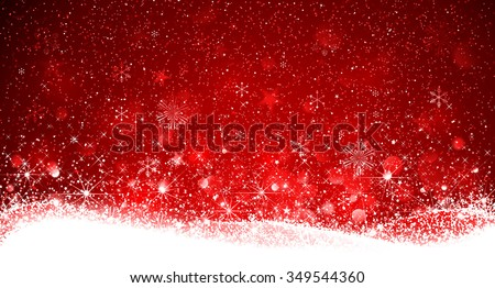 Christmas Red Background with Snowflakes and Snow. Vector illustration - stock vector