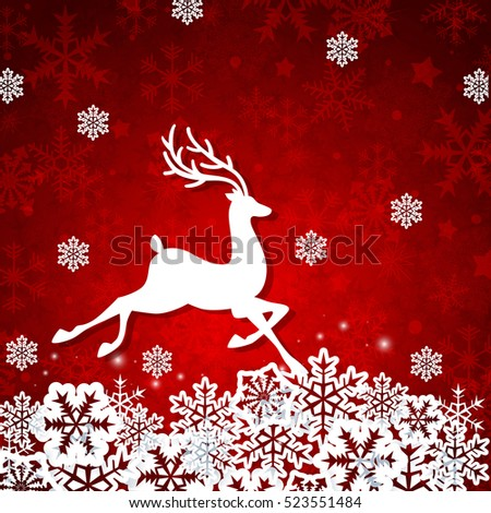 Christmas red background with white cut from paper deer and snowflakes. Design for greeting card.