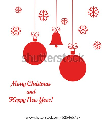 Christmas red balls and bell ornaments on white background illustration