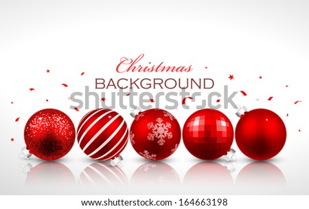 Christmas red balls with reflection - stock vector