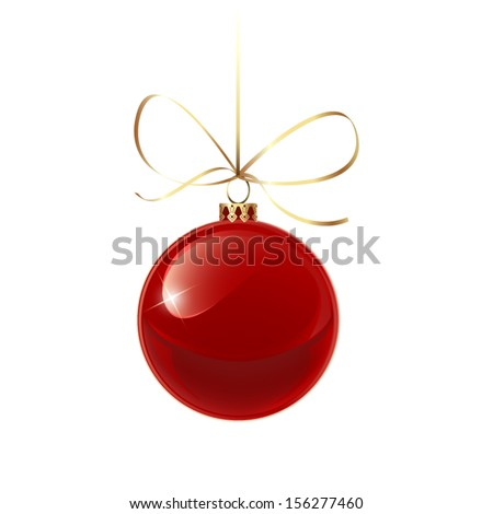 Christmas red bauble with gold ribbon - stock vector