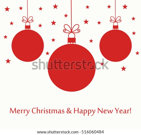 Christmas red baubles. Holiday New Year card background vector