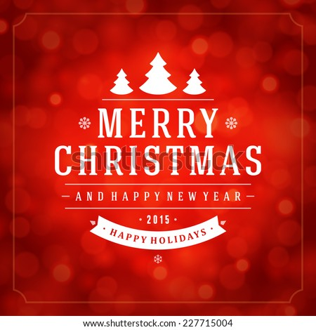Christmas red bokeh light vector background. Greeting card design or invitation and holidays wishes. - stock vector