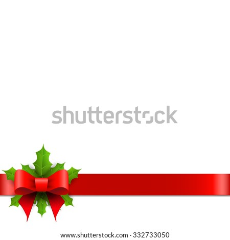 Christmas red bow with holly - stock vector