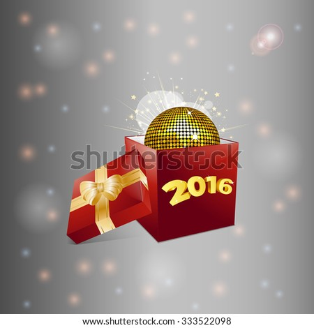 Christmas Red Box with 2016 Text and Disco Ball Over Glowing Background - stock vector